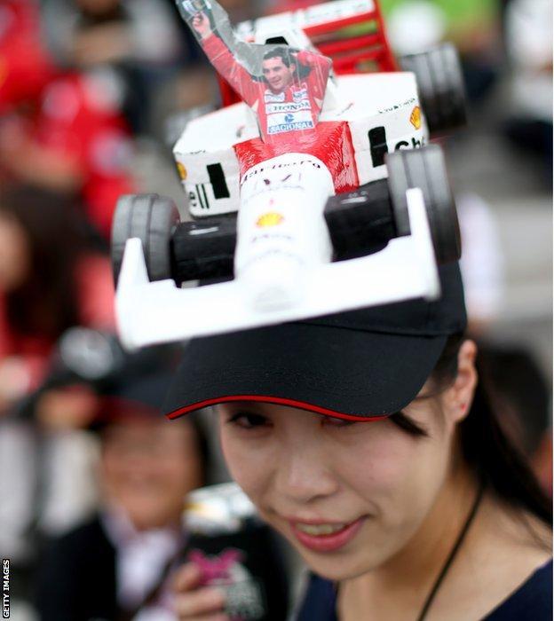 Japanese GP fan wearing Ayrton Senna hat