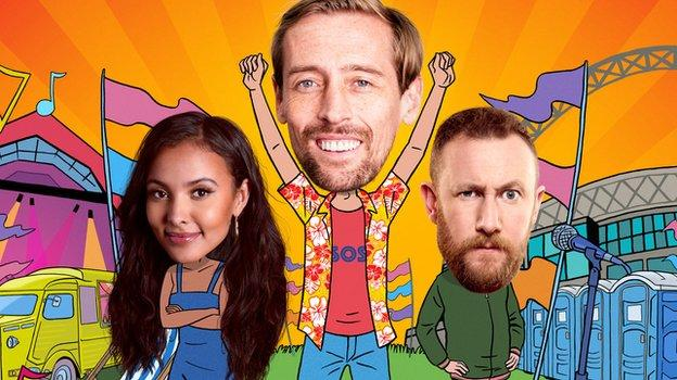 Peter Crouch: Save Our Summer hosts Maya Jama, Peter Crouch and Alex Horne