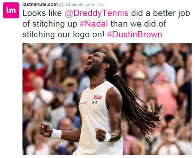 Brown's sponsor lastminute.com reacts to suggestions of last minute stitching