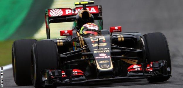 Pastor Maldonado in practice at the 2015 Brazilian Grand Prix