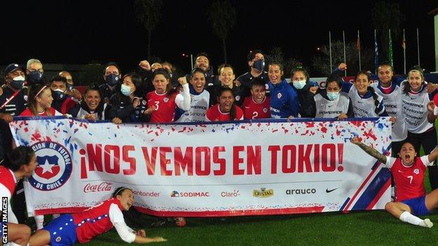 Chile women celebrating their first Olympic qualification