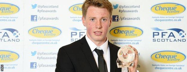 Jordan Moore collected a PFA Scotland Special Merit Award in 2015 following his battle against cancer