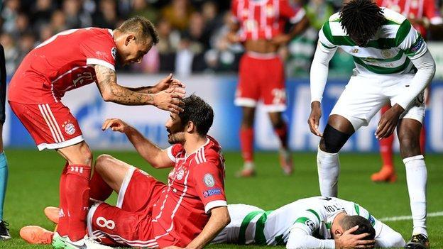Bayern goalscorer Javi Martinez and Celtic defender Nir Bitton