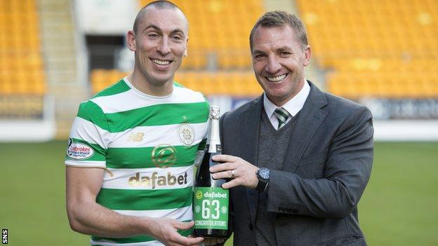 Celtic captain Scott Brown and manager Brendan Rodgers celebrate