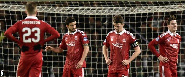 Aberdeen's players look despondent