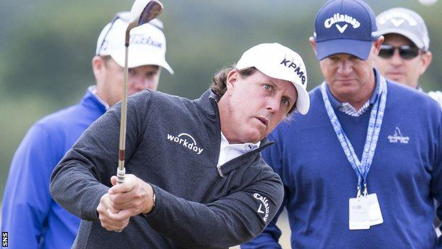 Phil Mickelson plays a practice round at Gullane on Tuesday