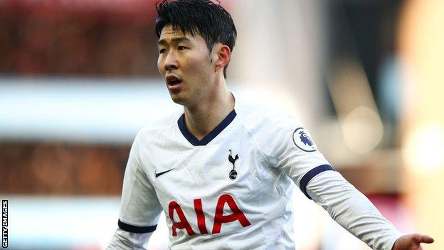 Son Heung-min playing for Tottenham