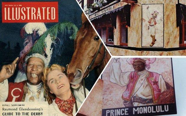 Split picture showing Monolulu on a magazine cover, the corner of the former Prince Monolulu pub in Fitzrovia
