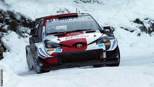 Elfyn Evans in action at the Monte Carlo Rally