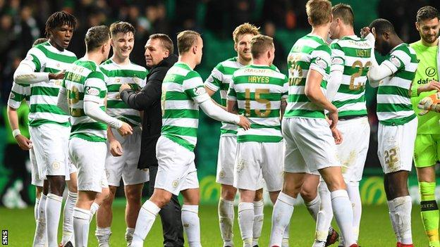 Brendan Rodgers congratulates his Celtic players at full-time