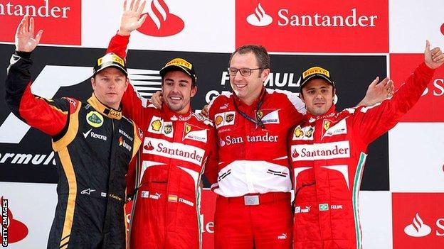 Stefano Domenicali, Fernando Alonso, Felipe Massa and Kimi Raikkonen