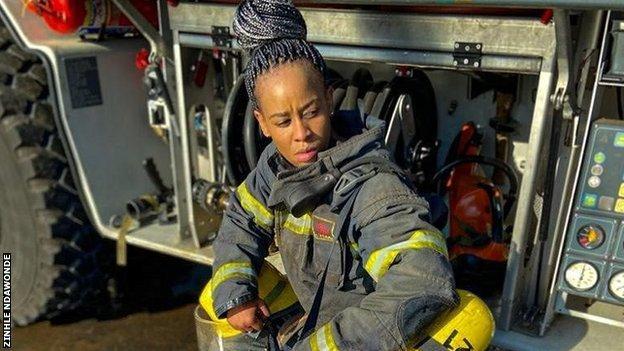 Zinhle Ndawonde at the fire station
