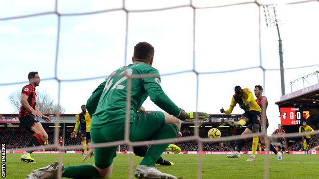 Abdoulaye Doucoure scores for Watford against Bournemouth