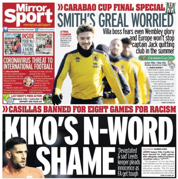 Saturday's back pages - Mirror