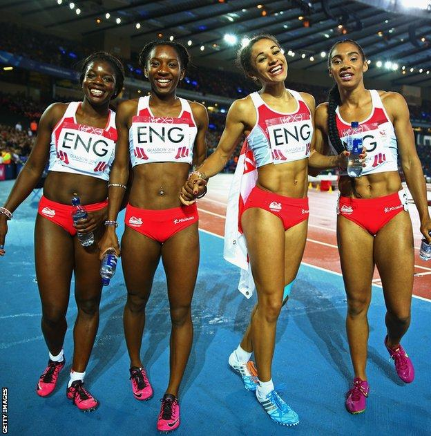 Jodie Williams with England team-mates after winning Commonwealth 4x100m bronze at the 2014 Games
