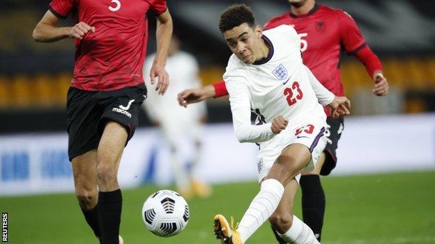 Jamal Musiala scores for England Under-21s against Albania