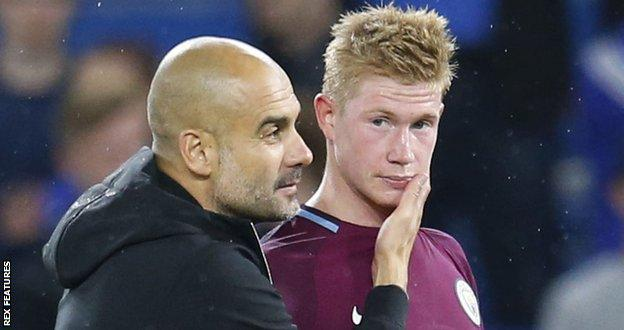 Man City boss Pep Guardiola and Kevin de Bruyne