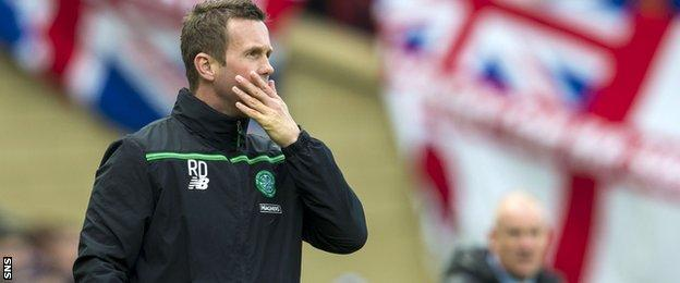Ronny Deila watches the defeat to Rangers