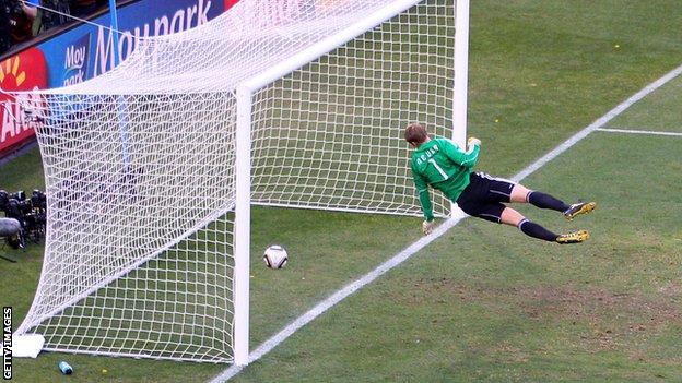 Germany goalkeeper Manuel Neuer is beaten by Frank Lampard's shot