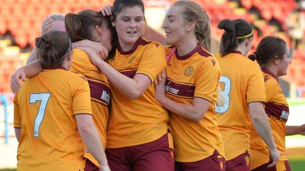 Maxine Welsh (right) celebrates for Motherwell agaisnt Spartans
