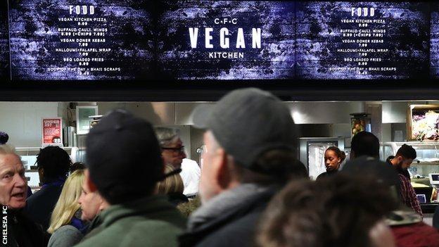 The new vegan kiosk at Stamford Bridge