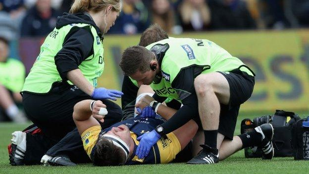 Worcester's Nick Schonert was injured in the very first minute of Sunday's home defeat by Wasps