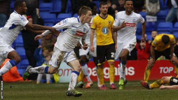 Green celebrates scoring for Tranmere Rovers