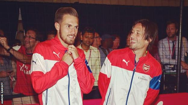 Ramsey shared this image along with his message to Rosicky