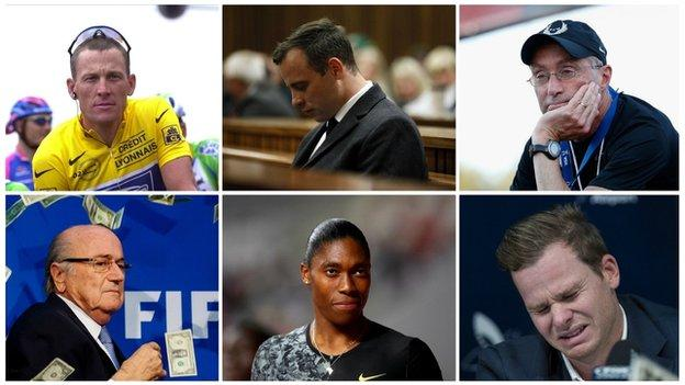 Collage of Lance Armstrong, Oscar Pistorius, Alberto Salazar, Sepp Blatter, Caster Semenya, Steve Smith