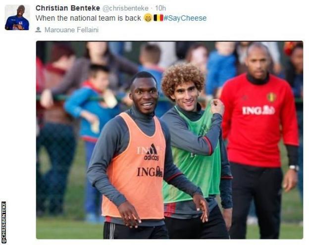 Christian Benteke, Marouane Fellaini and Thierry Henry