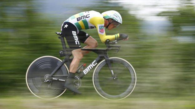 BMC's Rohan Dennis riding in his Australia national champion's kit