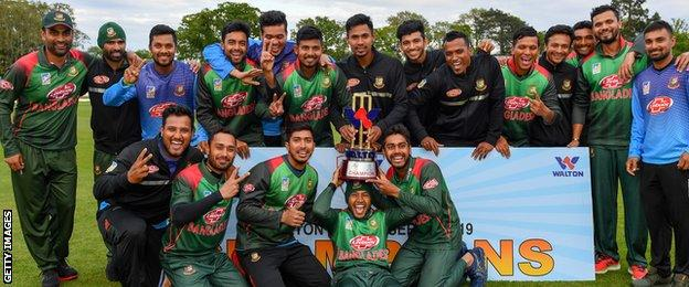 Bangladesh with the ODI tri-series trophy