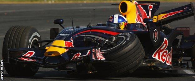 David Coulthard crashes during the 2008 Australian Grand Prix
