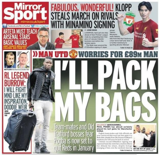 The back page of the Mirror