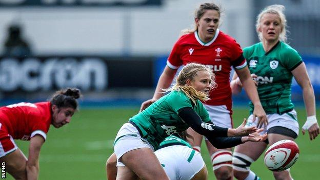 Ireland scrum-half Kathryn Dane gets the ball away from an ruck in last weekend's 45-0 win over Wales in Cardiff