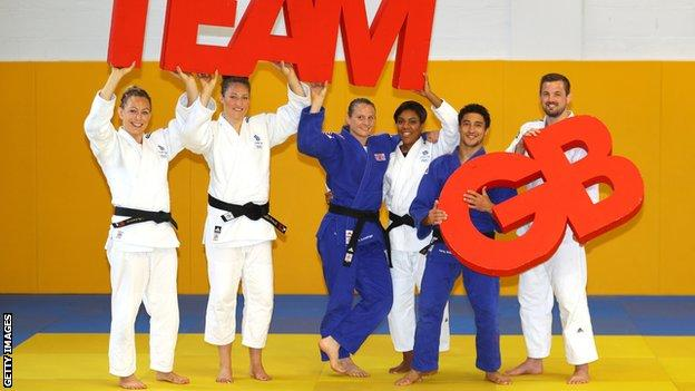 Sally Conway (left) with the GB judo team