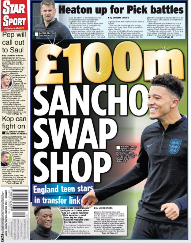 The Star leads on a £100m valuation of Jadon Sancho