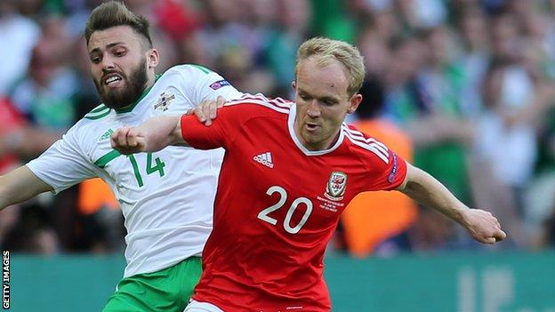 Jonny Williams in action for Wales against Northern Ireland's Stuart Dallas at Euro 2016