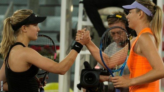 Eugenie Bouchard and Maria Sharapova exchanged a brief handshake after the match