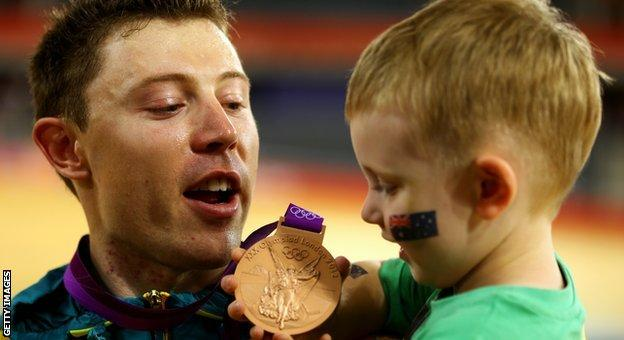 Shane Perkins with his son Aidan after winning Olympic bronze at London 2012