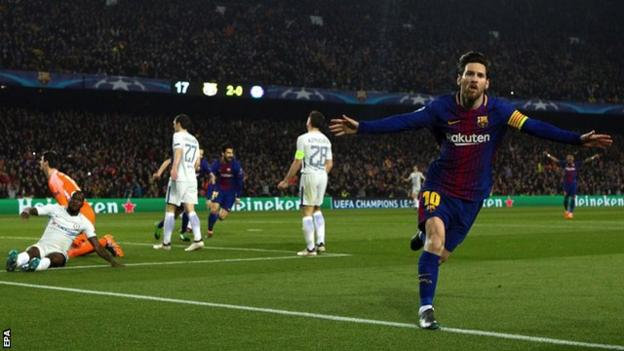 Lionel Messi scored three goals over two legs against Chelsea