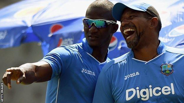 Simmons, right, played 25 Tests and 143 one-day internationals for West Indies between 1987 & 1999