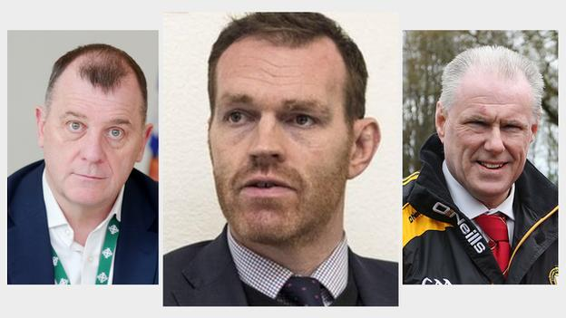 """Irish FA chief executive Patrick Nelson, Ulster Rugby chief executive Jonny Petrie and Ulster GAA secretary and chief executive Brian McAvoy have called on members and supporters to stick to the """"game plan"""""""