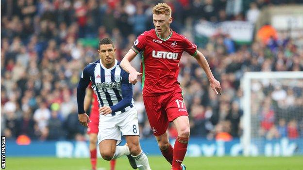 Sam Clucas on the ball for Swansea during the draw at West Brom