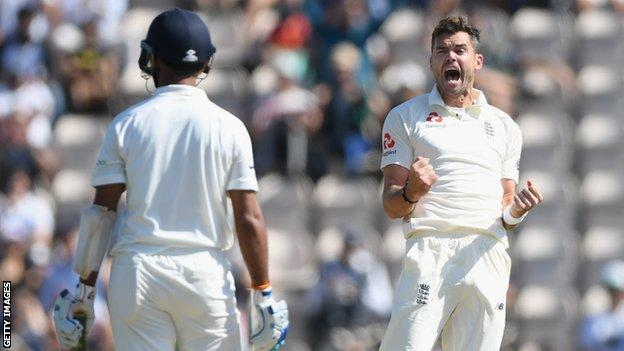 James Anderson celebrates a wicket in 2018