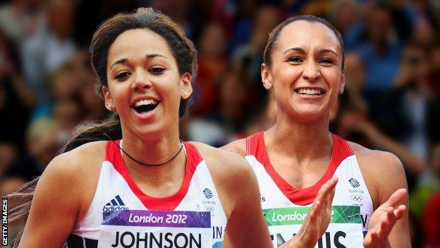 Katarina Johnson-Thompson (left) and Jessica Ennis-Hill (right)