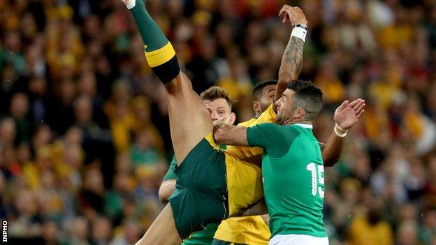 Rob Kearney tackles Israel Folau in the first Test in Brisbane