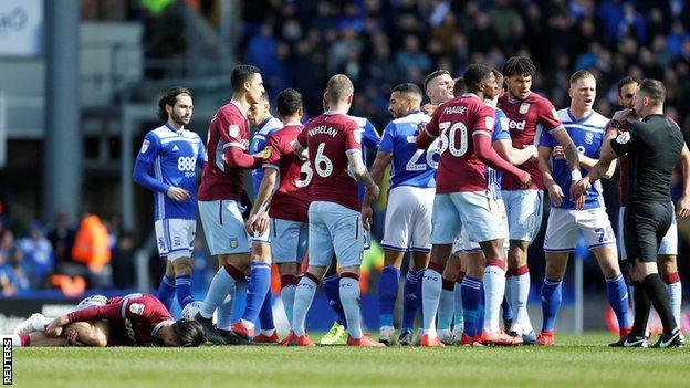 Birmingham & Aston Villa players clash
