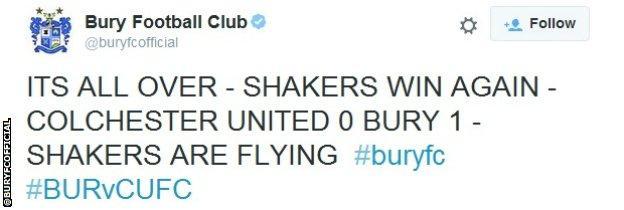 Bury FC tweet