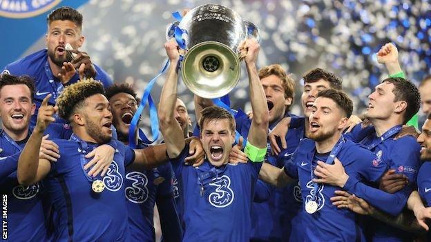 Chelsea celebrate winning the Champions League